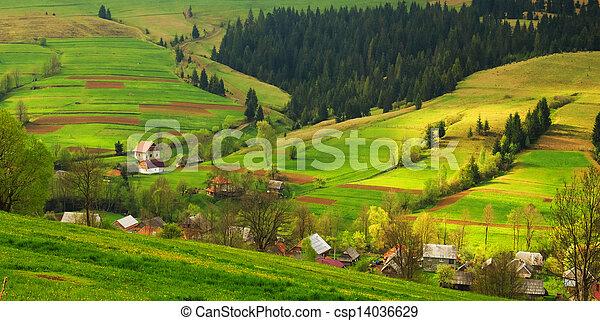 Rural landscape in the Carpathian mountains - csp14036629