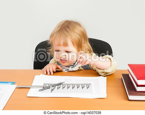 beautiful business girl analyzing chart - csp14037039