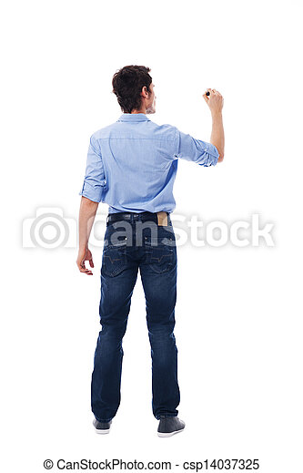 Adult male writing on the blank white wall  - csp14037325