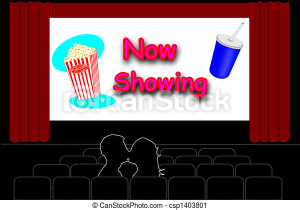 Clipart of movie theater - Man and a woman kissing in an empty ...