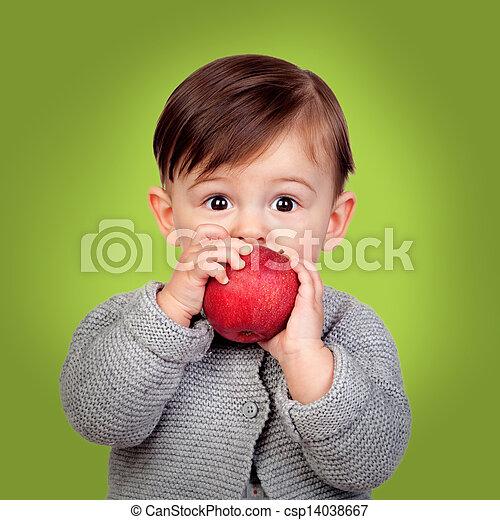 嬰孩, 可愛, 吃, 蘋果, 紅色 - csp1... 可愛, 嬰孩, 吃, a, 紅色, 蘋果