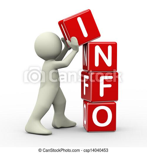 3d man placing info cubes - csp14040453