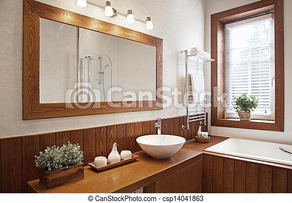 Modern Residential Home Bathroom - csp14041863