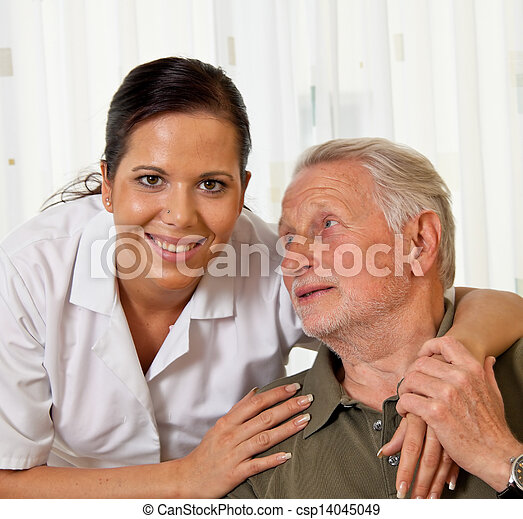 nurse in elderly care for seniors in nursing homes - csp14045049