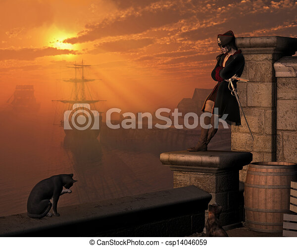 Pirate Captain at Sunset - csp14046059