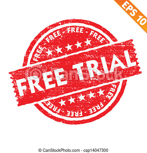 Stamp sticker Free trial collection  - Vector illustration - EPS10 - csp14047300