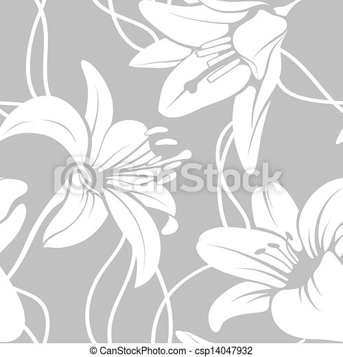 Vector lily seamless pattern - csp14047932