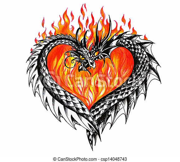 Drawing Of Dragons Heart With Two Dragons And Fire In Csp14048743 Search Clip Art