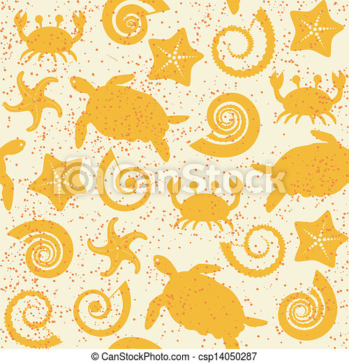 Seamless pattern with sea animals - csp14050287