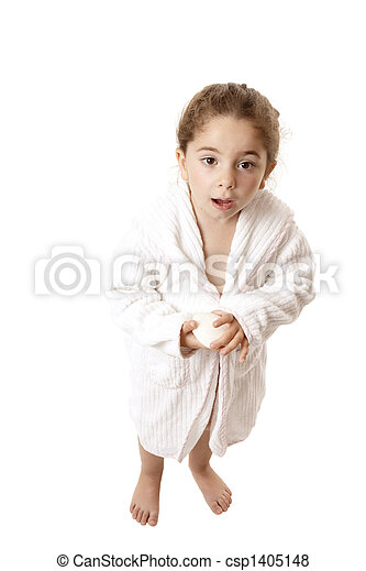 Little girl ready for shower or bath - csp1405148