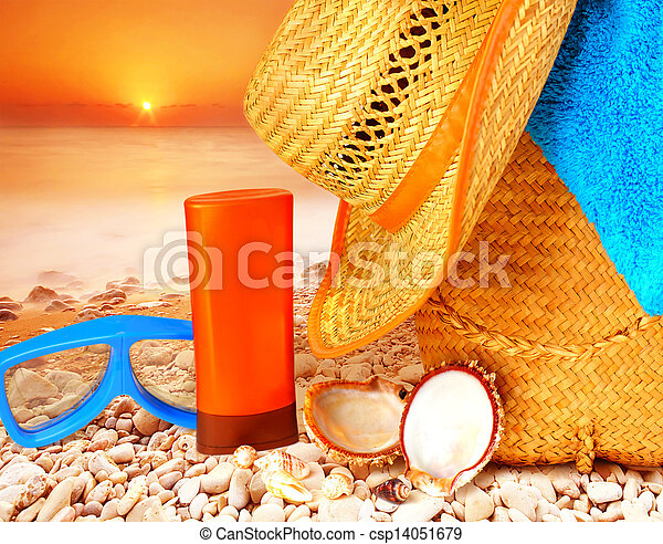 Beach items on sunset - csp14051679