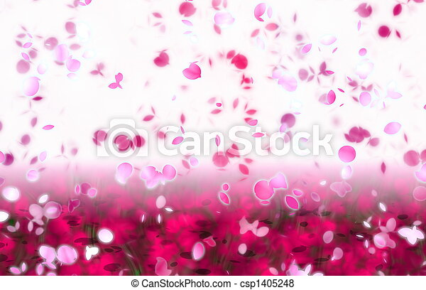 Sakura Snowfall Petals Abstract Background - csp1405248