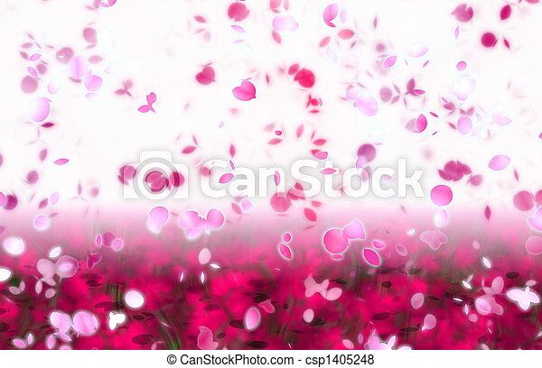 Sakura Snowfall Petals Abstract Background - csp1405248