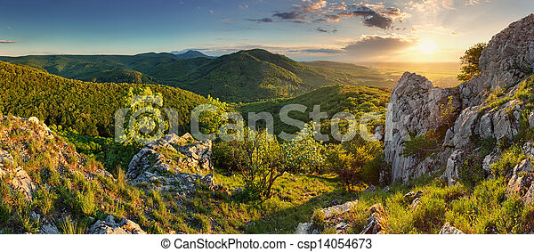 Mountain forest panorama - Slovakia - csp14054673