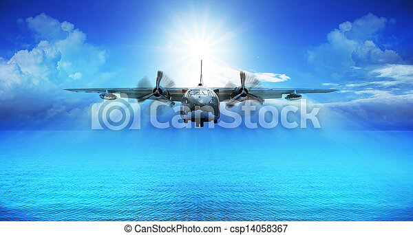 c123 military plane landing - csp14058367