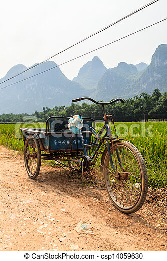 Chinese transportation in a Li river mountain landscape - csp14059630