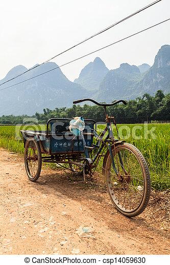 fjäll, transport, Kinesisk, Läsida, flod, landskap - csp14059630