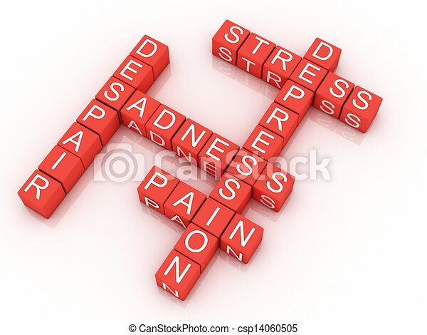 Depression cubes with the letters in a crossword puzzle  - csp14060505
