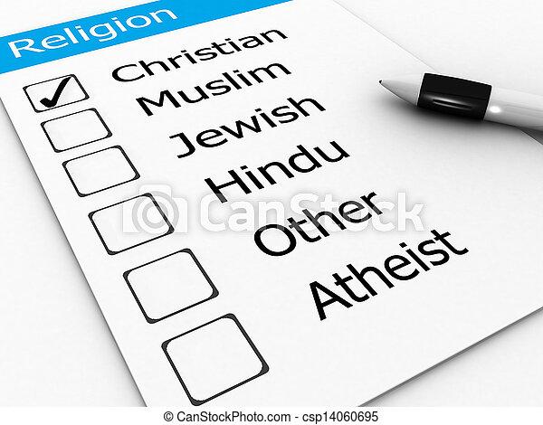 major world religions - Christian, Muslim, Jewish, Hindu, Atheist, Other - csp14060695