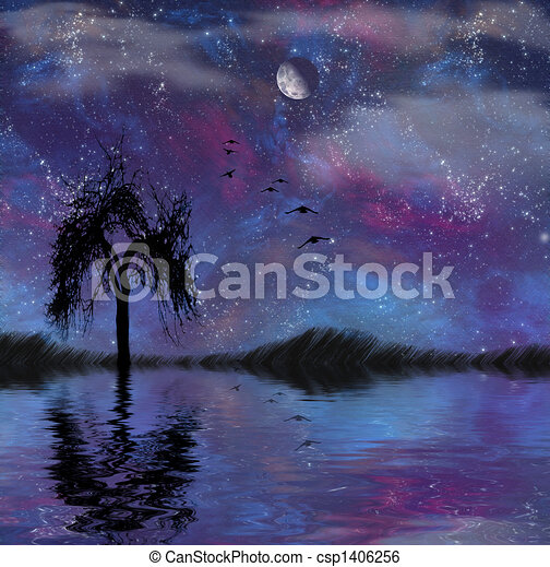 Landscape with stars - csp1406256