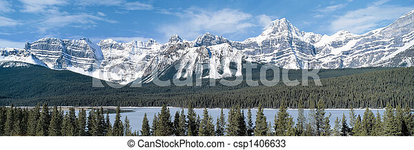 kanada,  Mountains,  Columbia, ostadig, brittisk, Panorama, synhåll - csp1406633