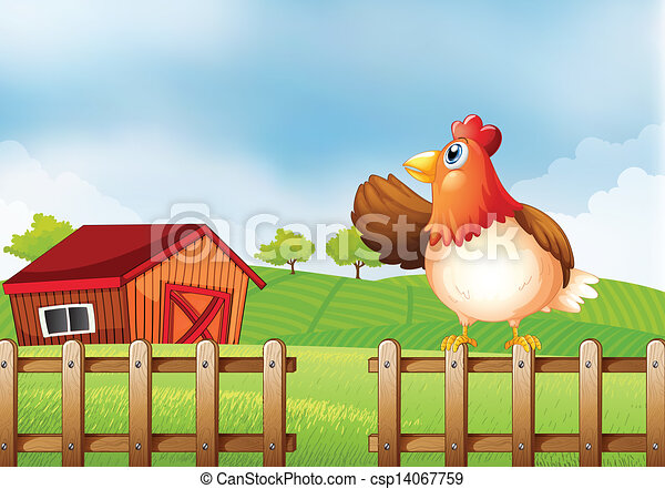 Farm Fence Clipart clipart vector of a farm with a hen at the fence - illustration of