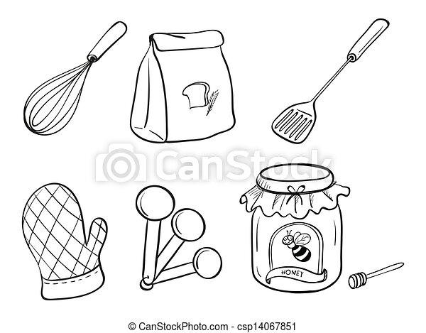 Clipart vectorial de conjunto hornada garabato for Dibujos sobre cocina