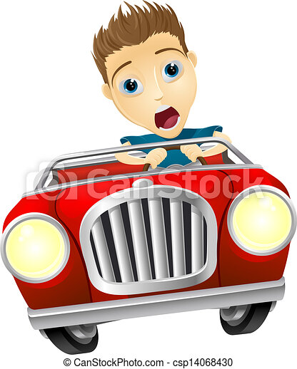 Vectors of Cartoon man driving fast car - Cartoon young man looking ...: www.canstockphoto.com/cartoon-man-driving-fast-car-14068430.html