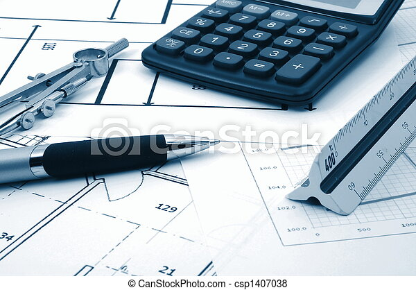 architectur plans of residential real estate - csp1407038