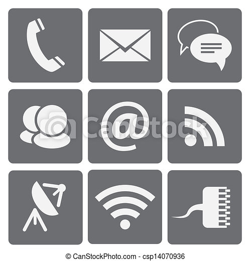 Set of modern communication signs and icons - csp14070936