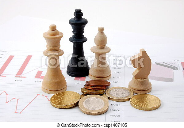 sopra, uomo, grafico, affari, scacchi - csp1407105