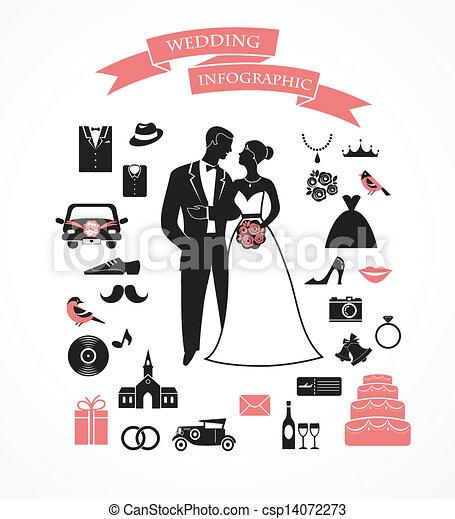 wedding vector set with graphic elements - csp14072273