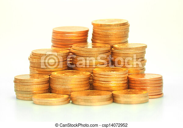 Gold coin stack - csp14072952