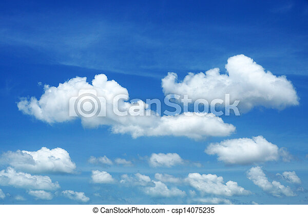 Blue sky background with white clouds - csp14075235