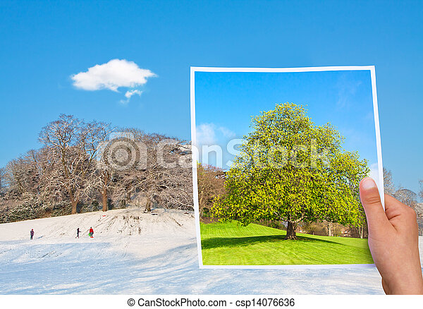 memorable picture summer vs winter - csp14076636