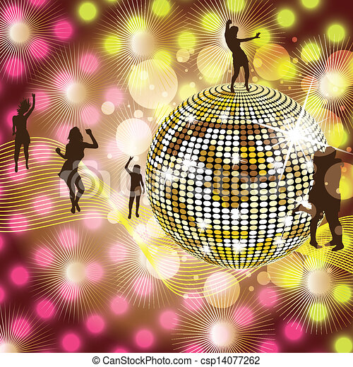 Clip Art Vector of Disco Party Background - Disco Party colorful ...