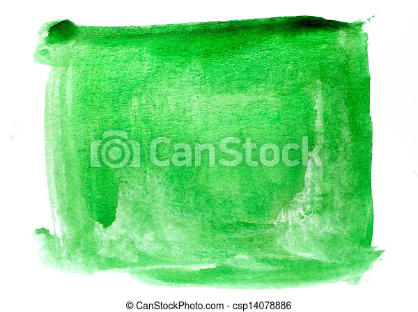 spot art watercolor green square texture blue isolated on a white background - csp14078886