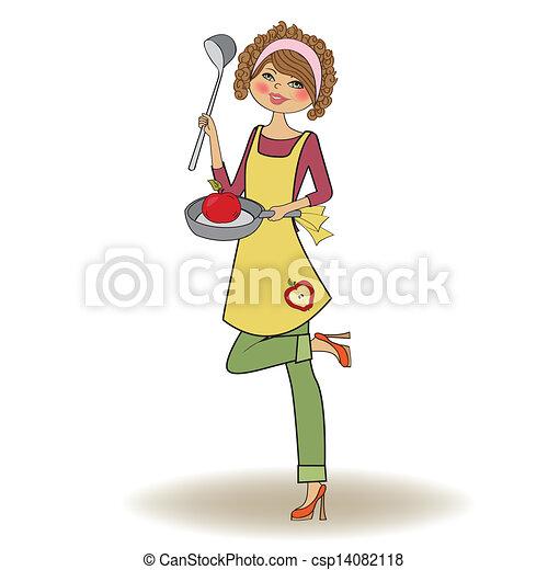 Vector clip art van vrouw het koken illustratie in vector csp14082118 zoek naar clipart for Beeldkoken