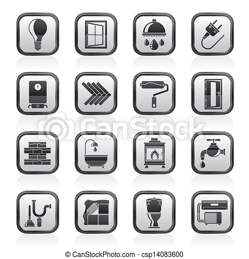 construction and renovation icons construction and home
