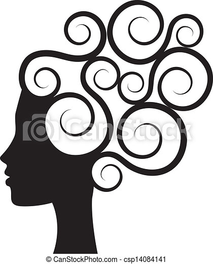 Eps Vector Of Curly Hair Silhouette Of Woman S Profile