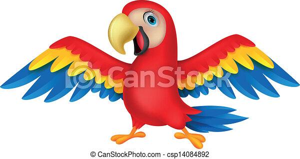 Cute parrot bird cartoon - csp14084892