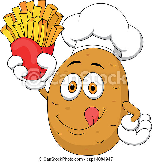 French Chef Drawing Potato Chef Holding up a
