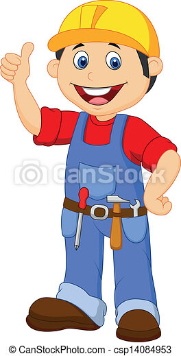 Cartoon handyman with tools belt th - csp14084953