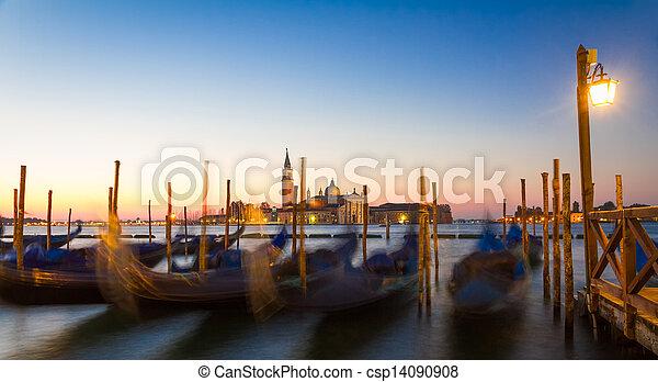 Gondolas at sunrise with San Giorgio di Maggiore church, Venice, Venezia, Italy - csp14090908