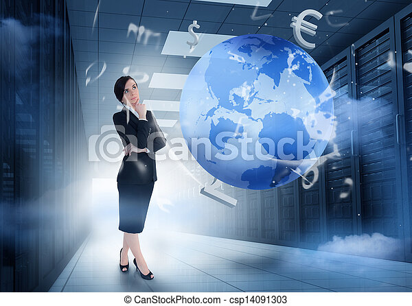 Businesswoman standing and thinking in data center with earth and currency graphics - csp14091303
