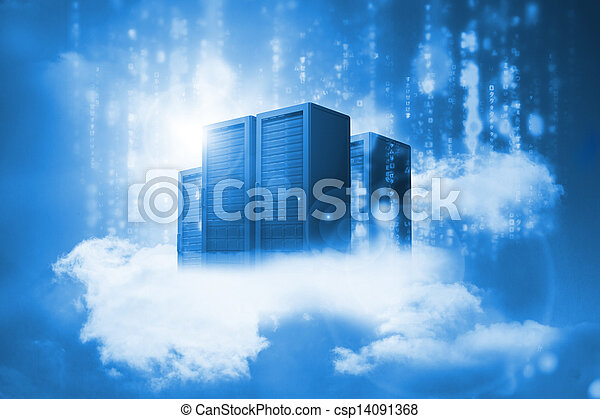 Data servers resting on clouds in blue - csp14091368