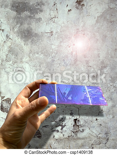 solar cell against an old wall - csp1409138