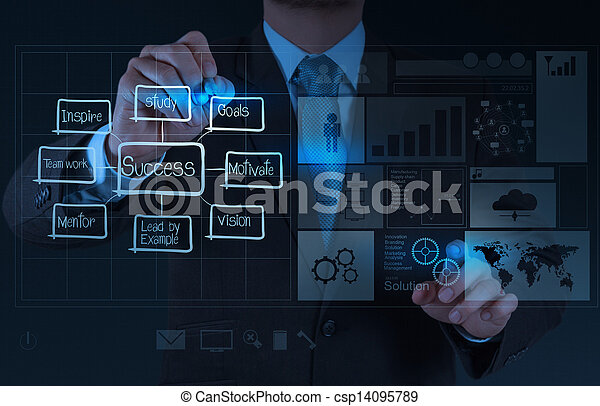 businessman hand draws business success chart concept - csp14095789