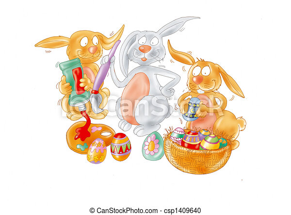 Easter rabbits - csp1409640