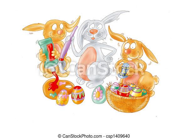 Easter rabbits - csp1409640